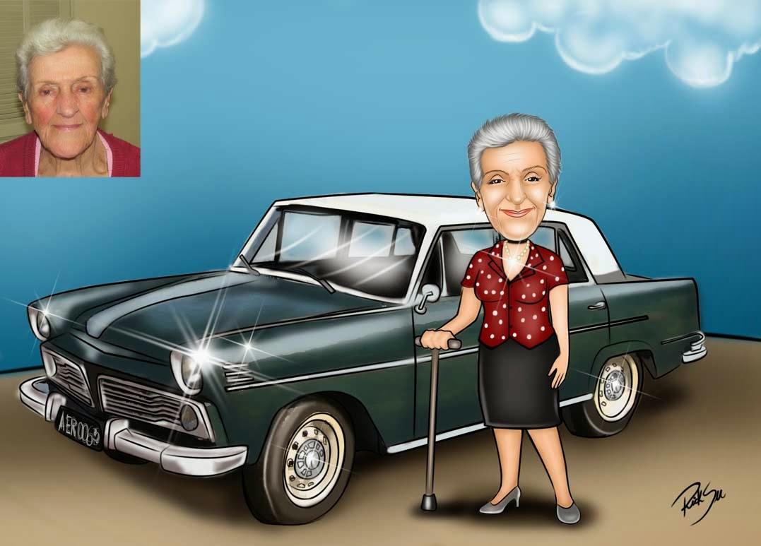 caricatura com carro antigo