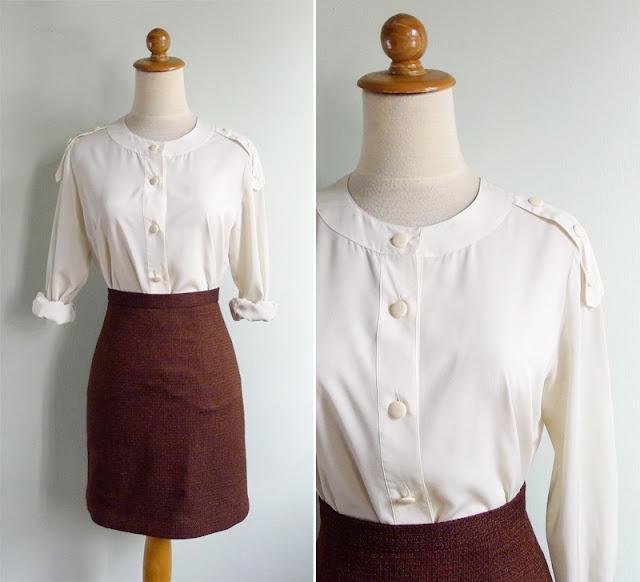 vintage silky cream blouse top