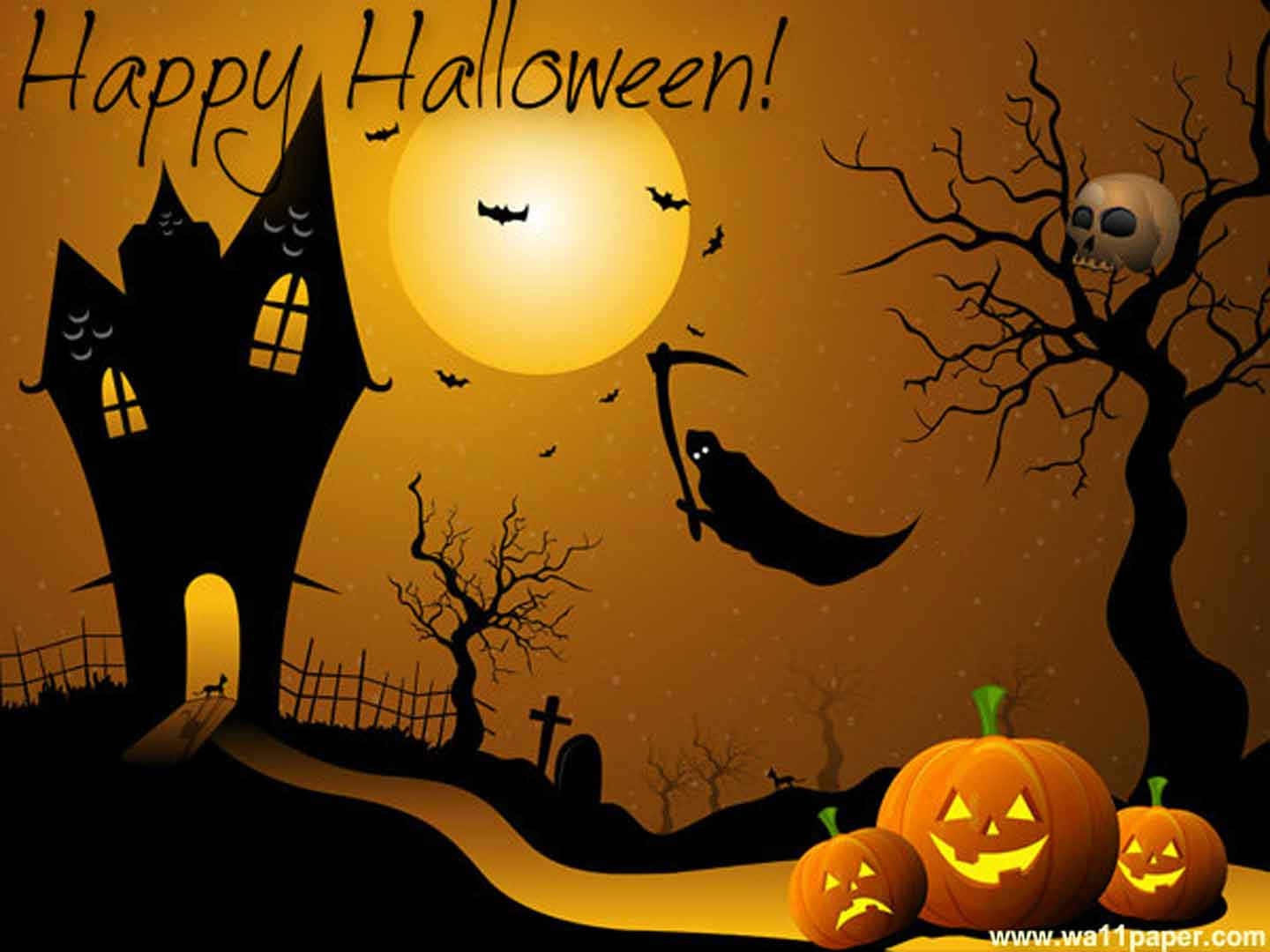 Modern vinyl wall art decals wall stickers wall quotes - Funny happy halloween wallpaper ...