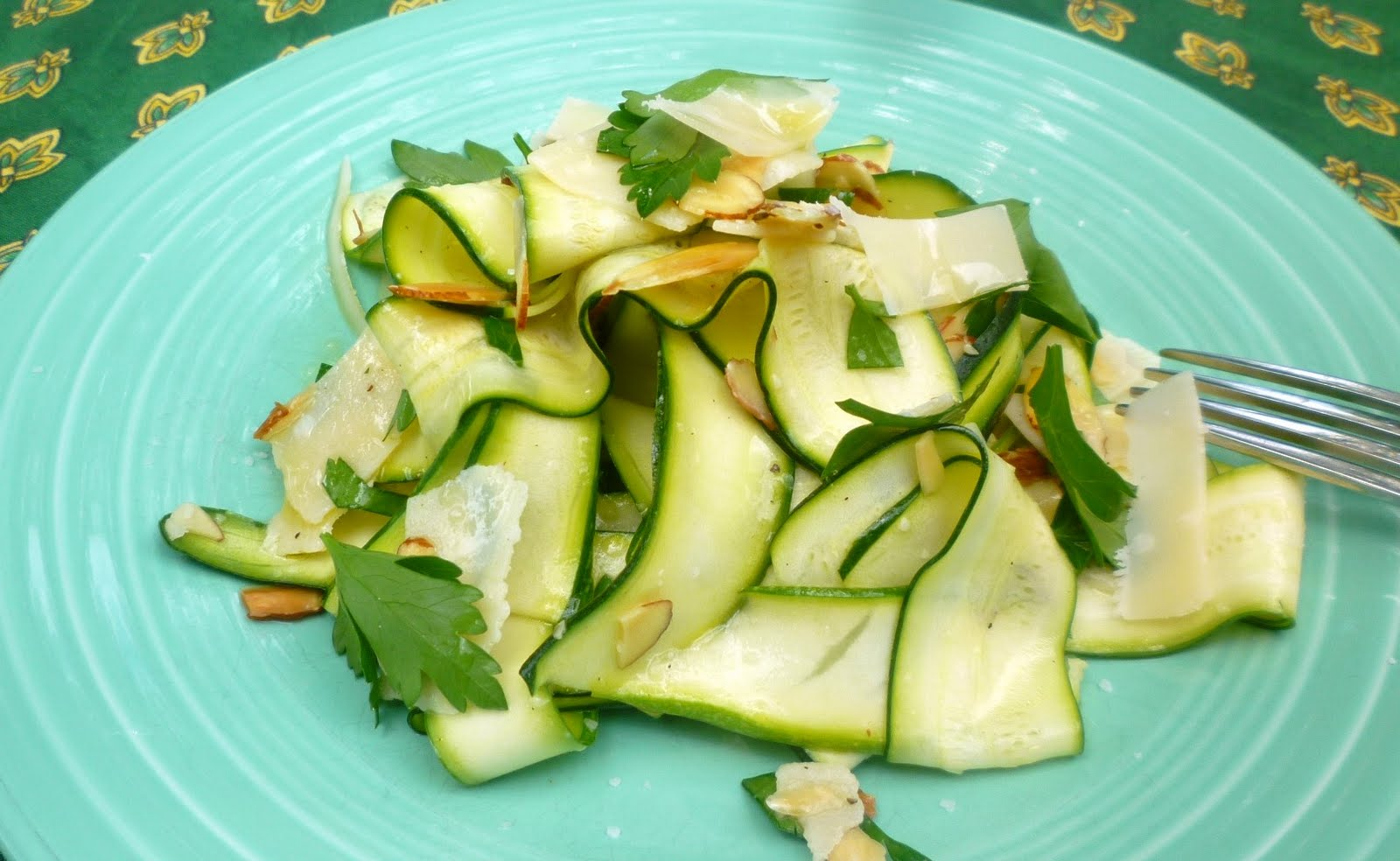 For Love of the TableShaved Zucchini Salad with Almonds, Parsley