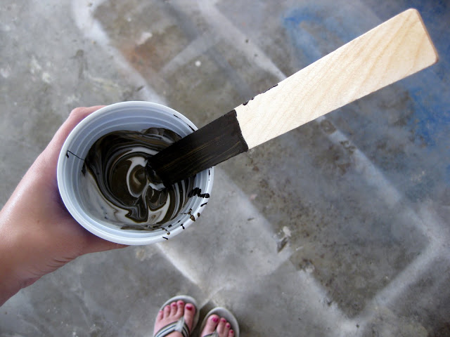 Mix it up and apply the glaze with a paintbrush or damp rag.