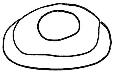 目玉焼きのイラスト モノクロ線画