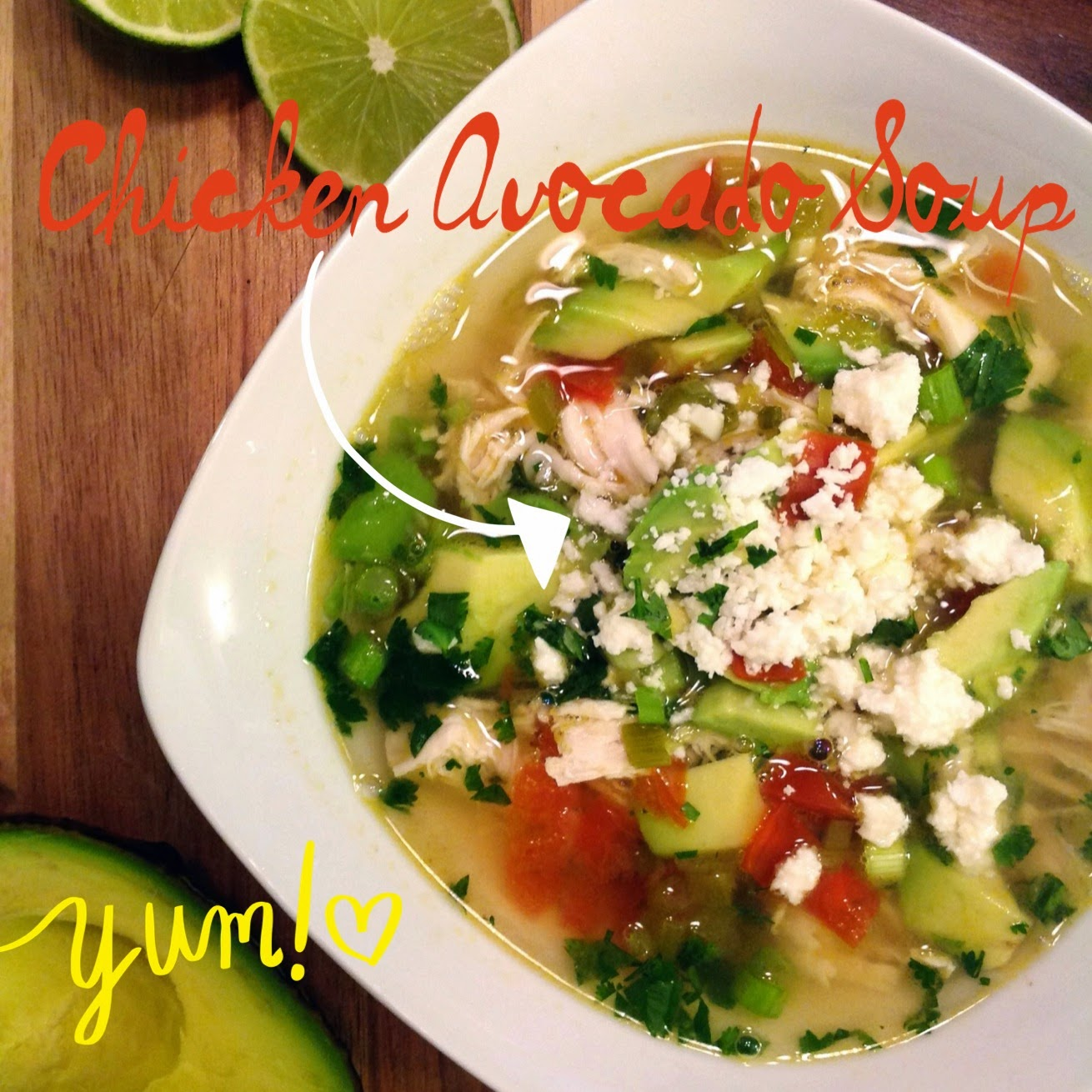 Light Soup with Shredded Chicken, Avocado, Lime and Cilantro.