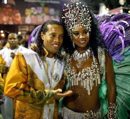 Brazillian Footballer Ronaldinho with Samba Dancer