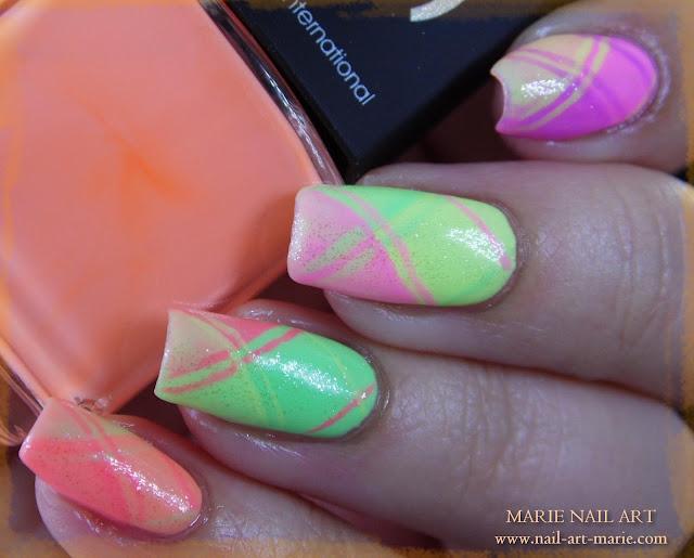 Nail Art Ecossais Pastel Fluo8
