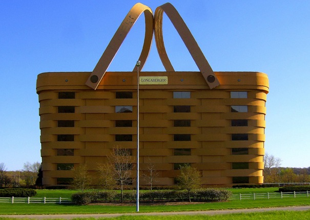 The Longaberger Basket Company building in Newark, Ohio might just be a strangest office building in the world. The 180,000-square-foot building, a replica of the company's famous market basket, cost $30 million and took two years to complete. Many experts tried to persuade Dave Longaberger to alter his plans, but he wanted an exact replica of the real thing.