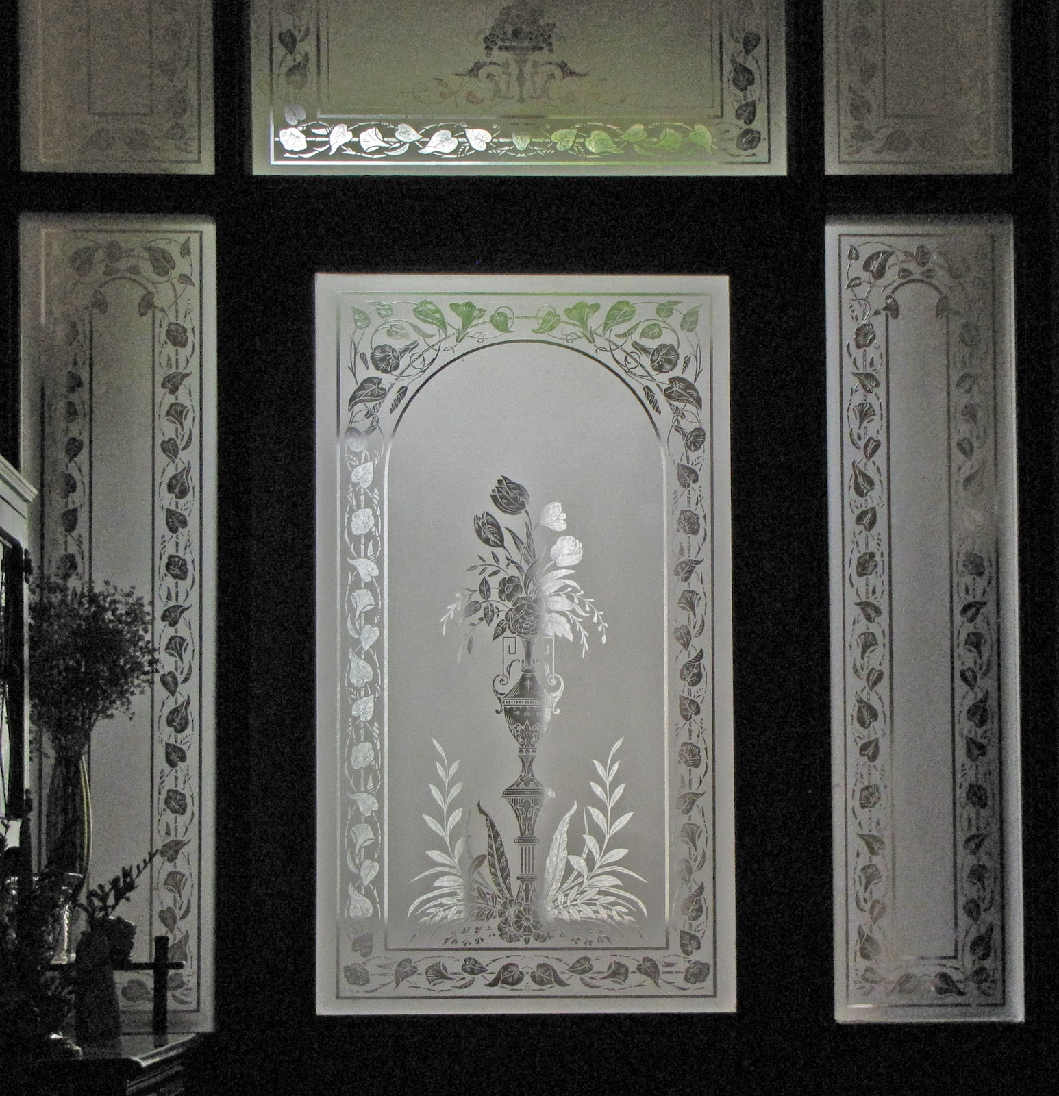 Verrier etched glass for Etched glass entry doors