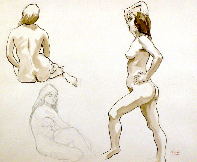 Line Art Figures : Figure drawing ink wash and pencil figures