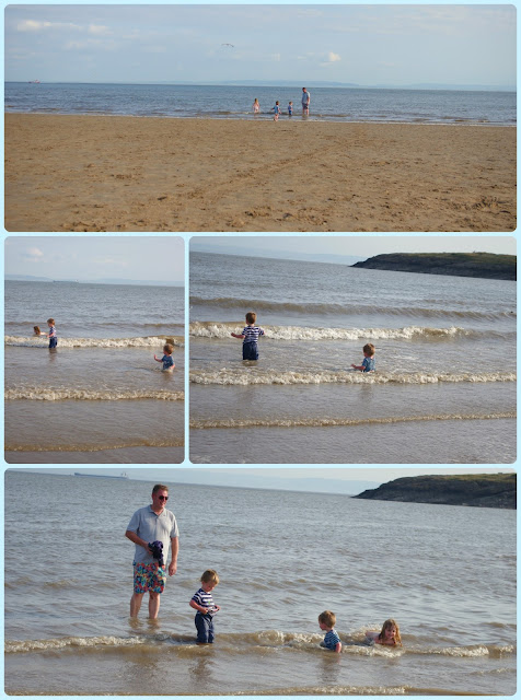 Toddlers in the sea at Barry Island