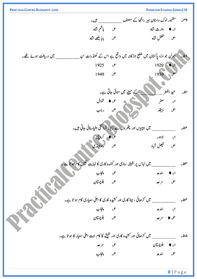 culture-of-pakistan-mcqs-pakistan-studies-urdu-9th