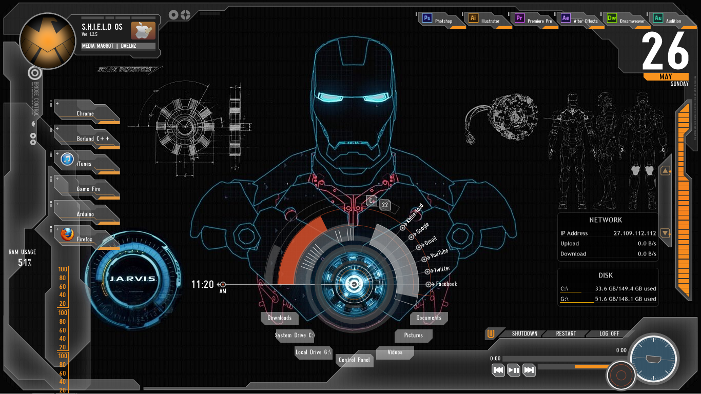 Turn your desktop to jarvis iron man by using rainmeter everyday geeks - Iron man jarvis background ...