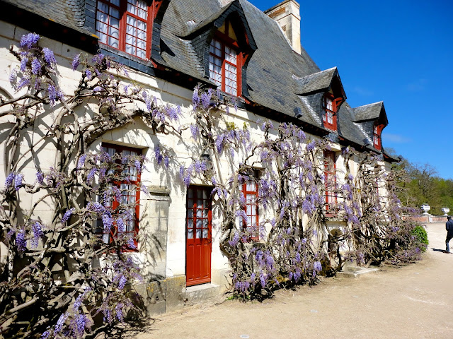 House covered in flowers in the grounds of Chenonceau Château, Loire Valley, France