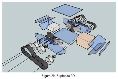 Explosão 3D - Veículo movido por esteiras Orbital