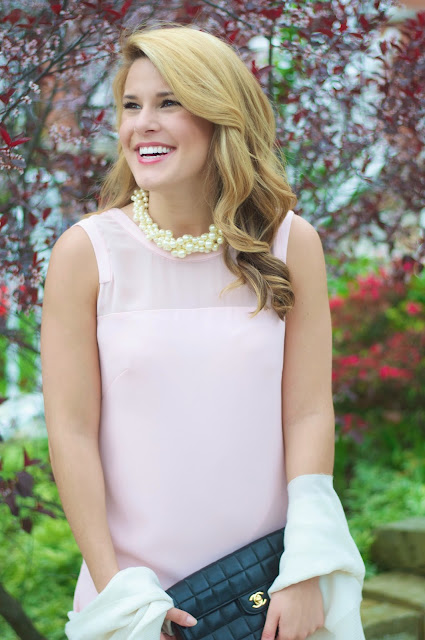 jcrew hammock pearl necklace with chanel bag and blush dress