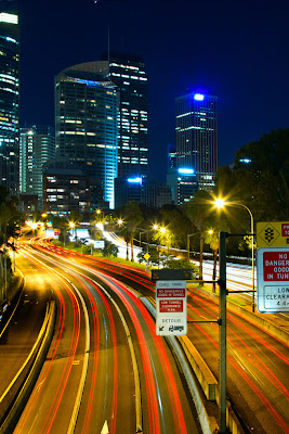 The Cahill Expressway and the city of Sydney, Australia