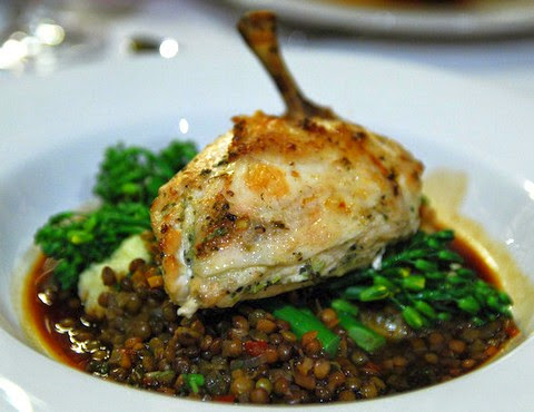 Roasted Chicken Breast with Garlic, Potato and Lentil Puree