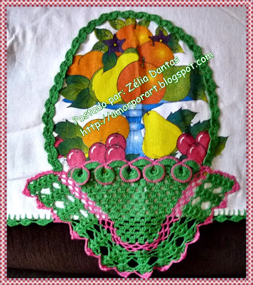 barrado de cesta de crochê para pano de prato