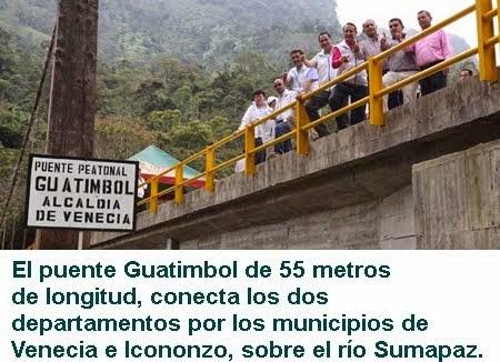 CUNDINAMARCA: ENTREGAN PUENTE INTERDEPARTAMENTAL GUATIMBOL