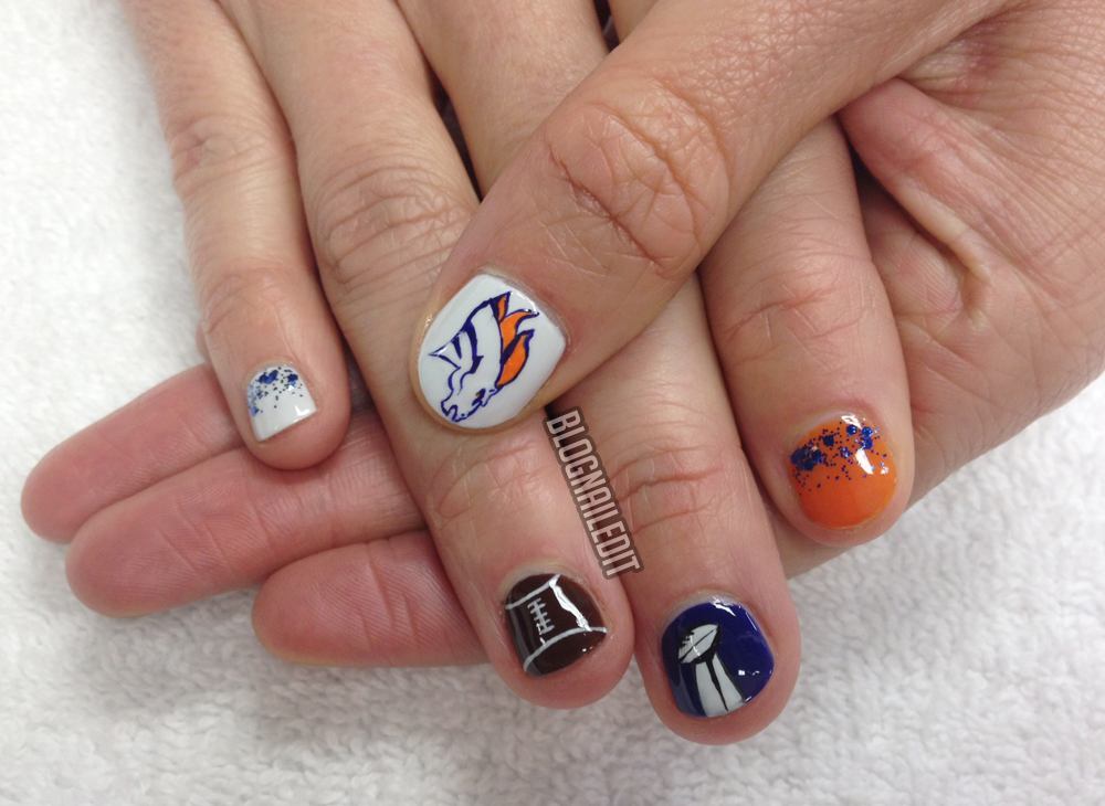 Broncos Super Bowl Nail Art