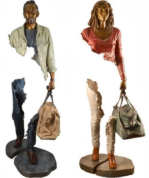 04-French-Artist-Bruno-Catalano-Bronze-Sculptures-Les Voyageurs-The-Travellers-www-designstack-co