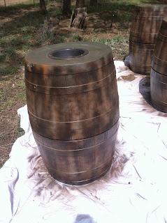 Spray barrels with dark walnut paint