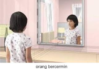 anak sedang bercermin dengan cermin datar