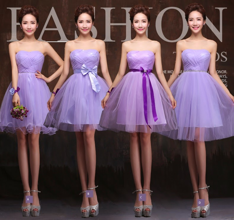 Four-Design Cross Weaving Lace Tutu Midi Bridesmaid Dress