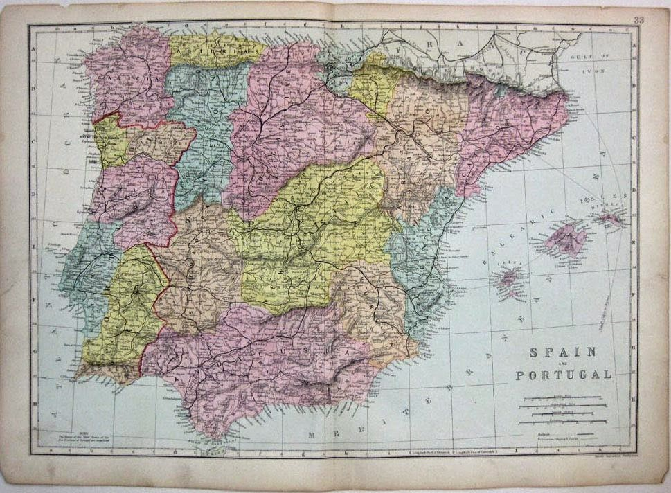 Spain and Portugal 1880 George W Bacon
