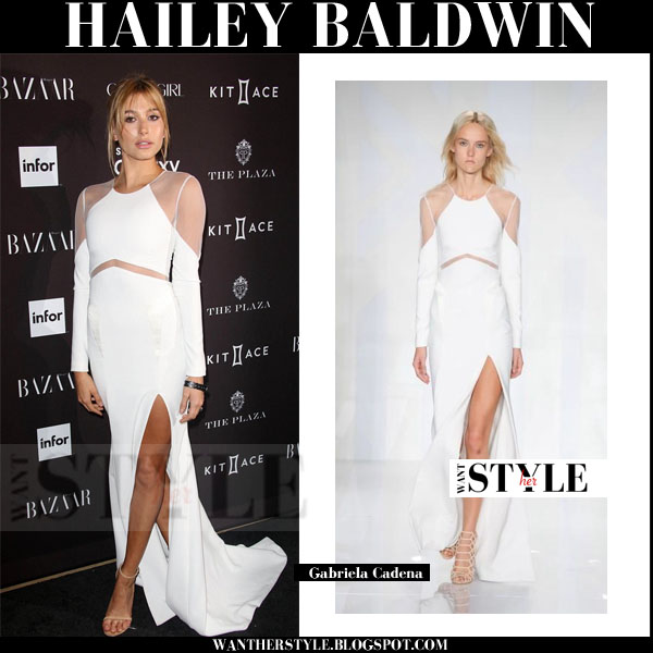 Hailey Baldwin in white side slit sheer detail gown gabriela cadena nyfw red carpet