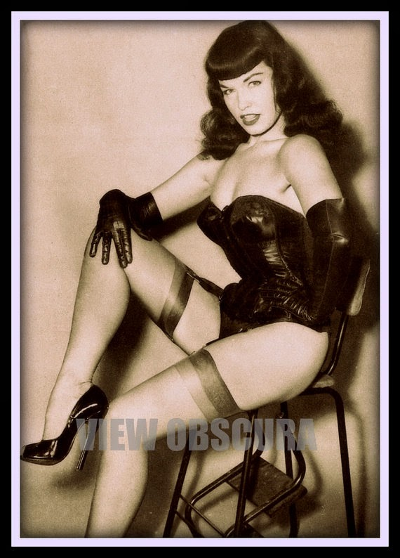 Bettie Page Photo- Notorious - Sexy Erotic Pin Up - Sexy Model Bettie Page - Numbered Poster Print