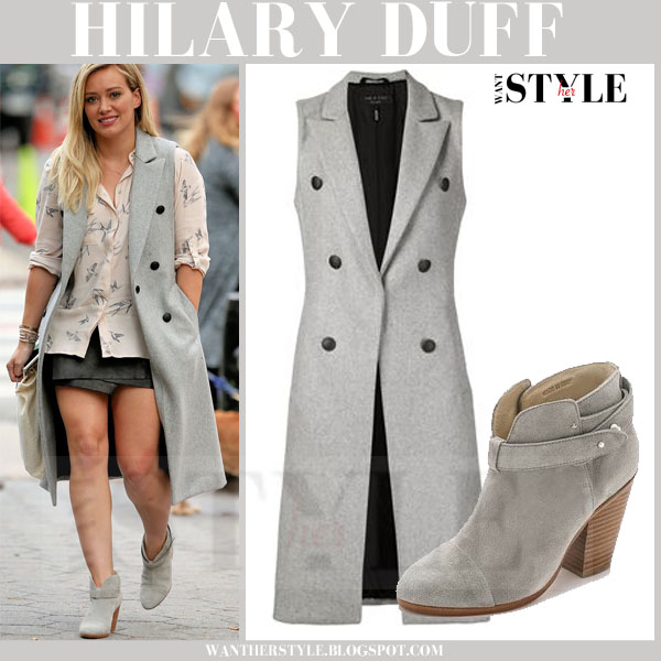 Hilary Duff in grey sleeveless long rag and bone faye vest and grey suede rag and bone harrow ankle boots what she wore