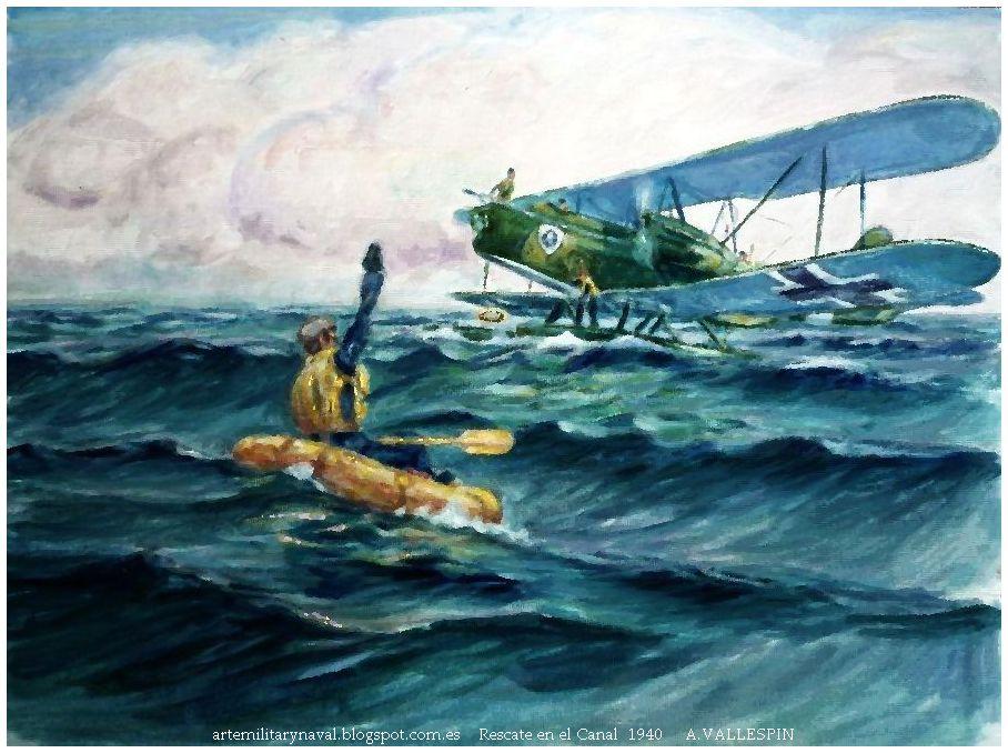 Pinura hans joachim Marseille rescatado por He-59 en El Canal