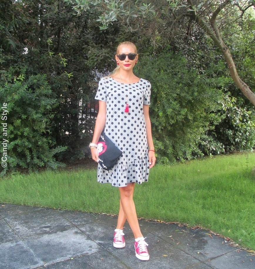 Dotted Dress, Sneakers, Excape Camo Sunnies, Pouch - Lilli Candy and Style Fashion Blog