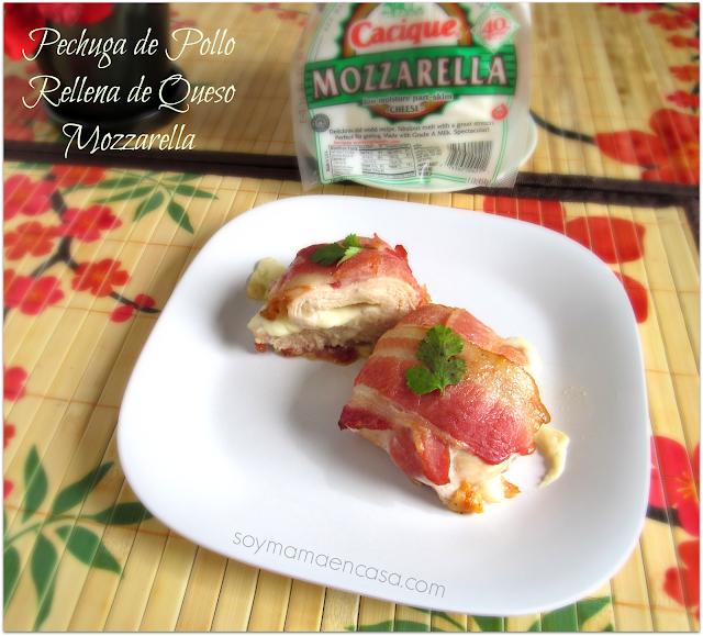receta pechuga de pollo rellena con queso y bacon