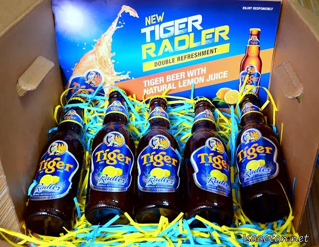 Five bottles of Tiger Radler for that natural lemon taste