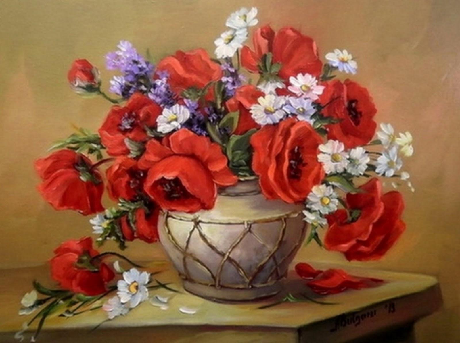 """Flores al Óleo Pinturas Artísticas de """"Anca Bulgaru"""""""