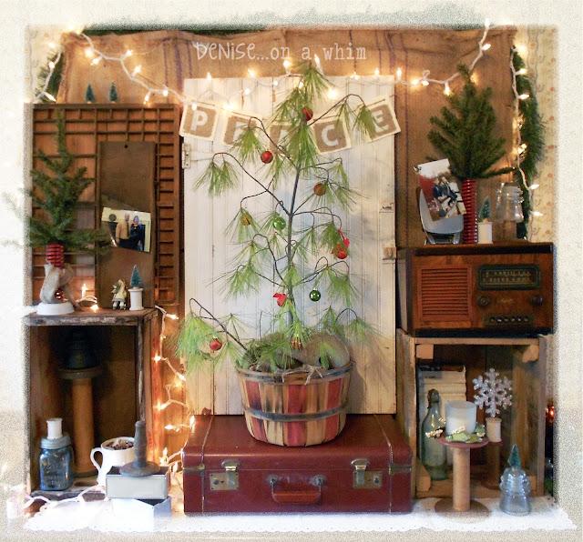Vintage Christmas Vignette via http://deniseonawhim.blogspot.com