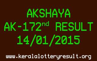 AKSHAYA Lottery AK-172 Result 14-01-2015