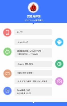 Sony D6603 muncul di situs AnTuTu dengan skor 33.838