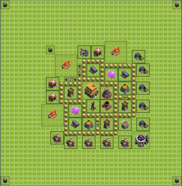 Base layout town hall level 5 tipe defense coc indonesia