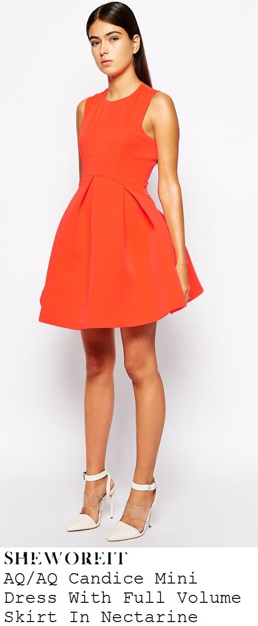 stephanie-nala-bright-neon-orange-sleeveless-full-skirt-skater-mini-dress-x-factor