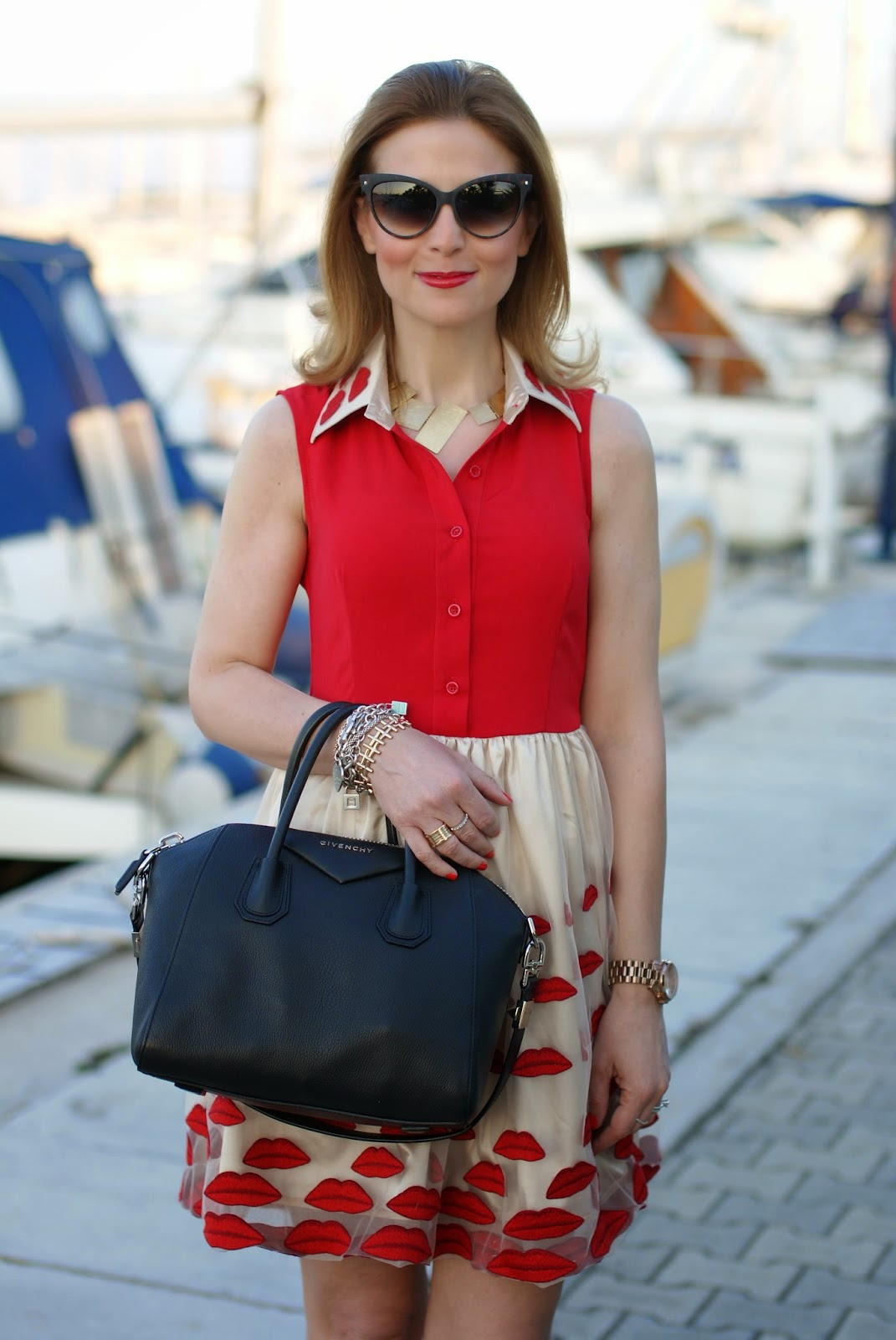 lips red dress, Givenchy Antigona bag, Fashion and Cookies, fashion blogger