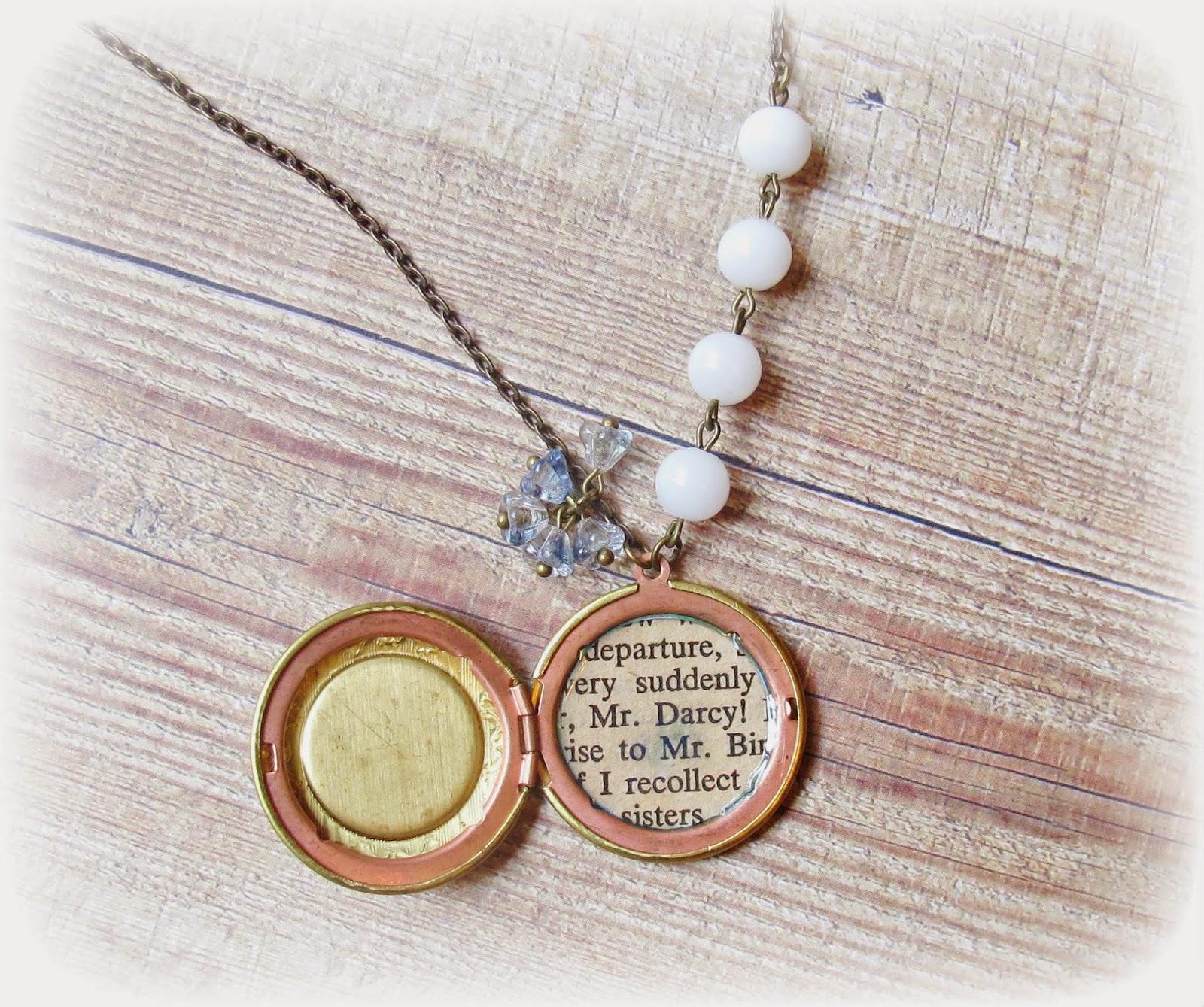 image mr darcy locket necklace pride and prejudice jane austen brass blue white vintage