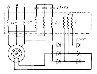 Принципиальная схема самовозбуждения и автоматического регулирования напряжения синхронного генератора
