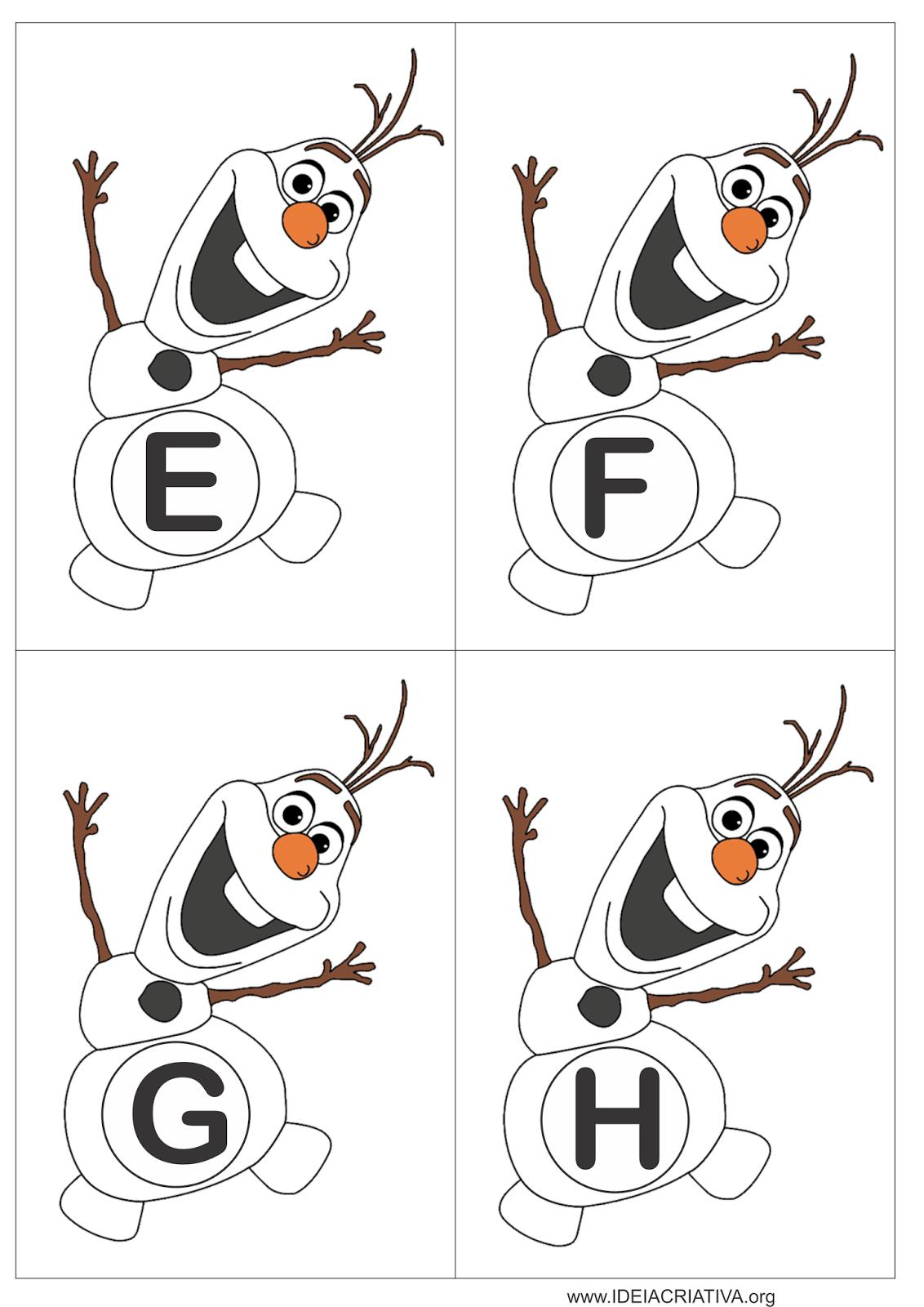 Alfabeto Olaf Frozen para jogo pedagógico