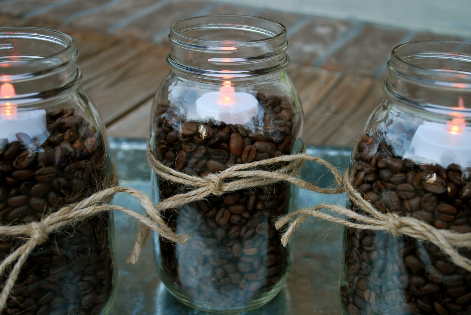 Fall Decorating Coffee Beans Mason Jars