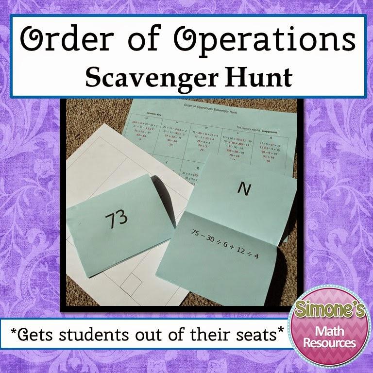 https://www.teacherspayteachers.com/Product/Order-of-Operations-Scavenger-Hunt-1795179