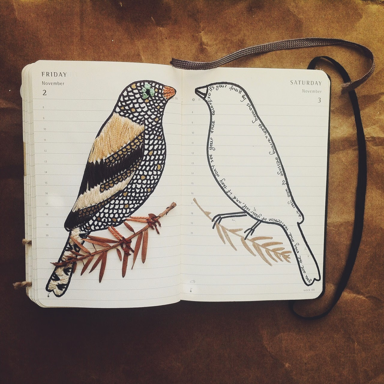 embroidery on paper, moleskine illustration journal, easy down to earth living, los angeles eco-friendly lifestyle blog, props stylist los angeles, conscious style blog, tlv birdie blog, oly shamrik, nature loving lifestyle, natural style, art journal, birds