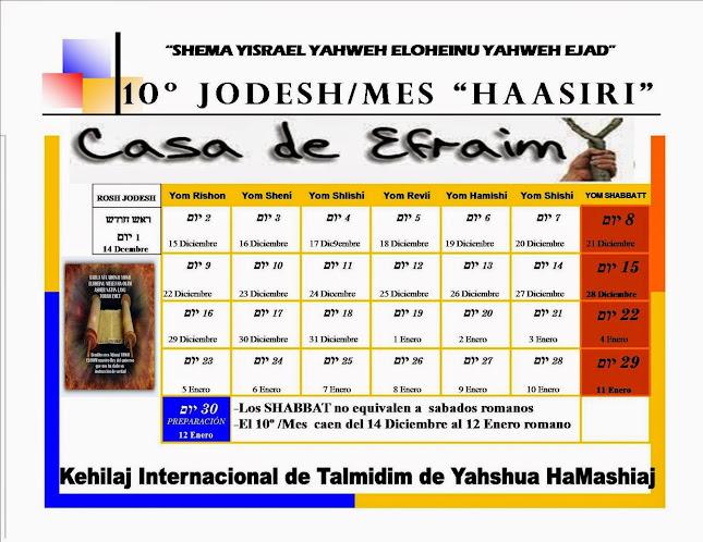 CALENDARIO 10º JODESH/MES