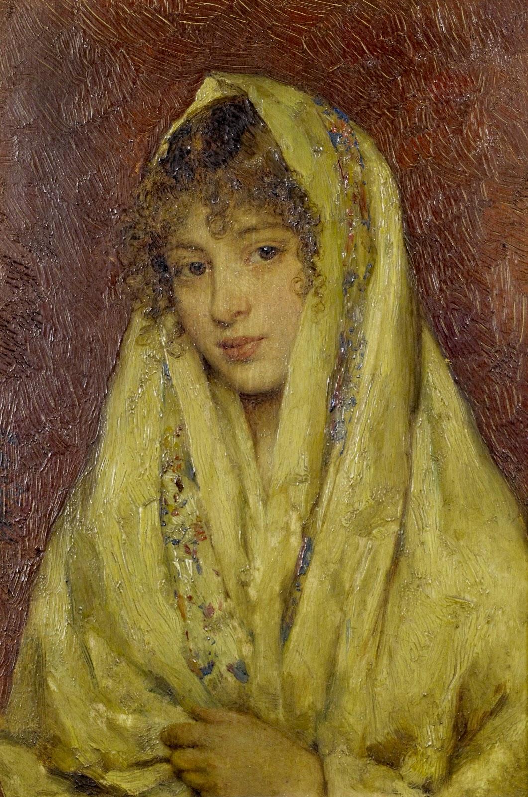 Eugene de  laas Girl in a yellow shawl